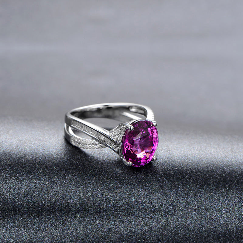 4CT Oval Solitaire Sterling Silver Pink Created Diamond Bridal Ring