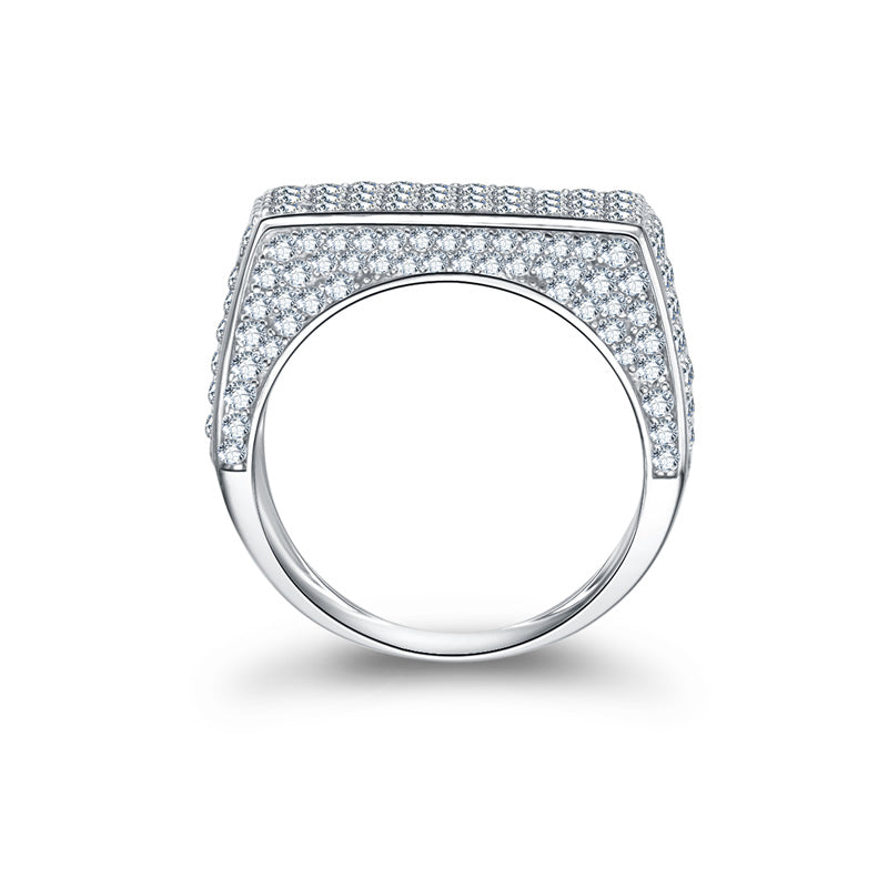 Top Flat Created White Diamond Male Ring