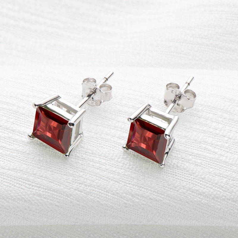 Red Asscher Cut Gmestone Garnet Stud Earrings