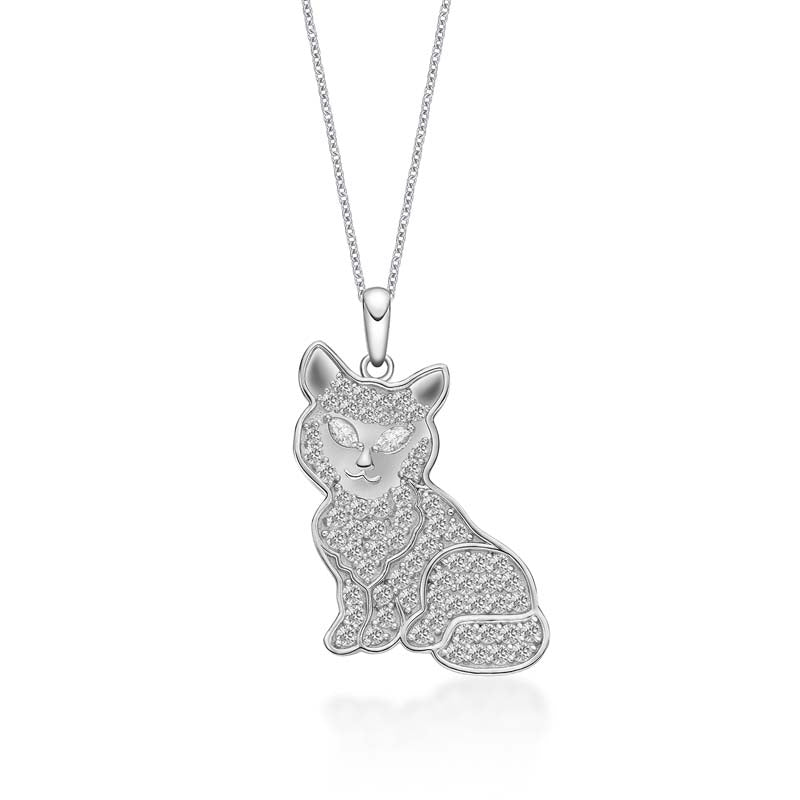 Ice Out Cat Created White Diamond Animal Pendant