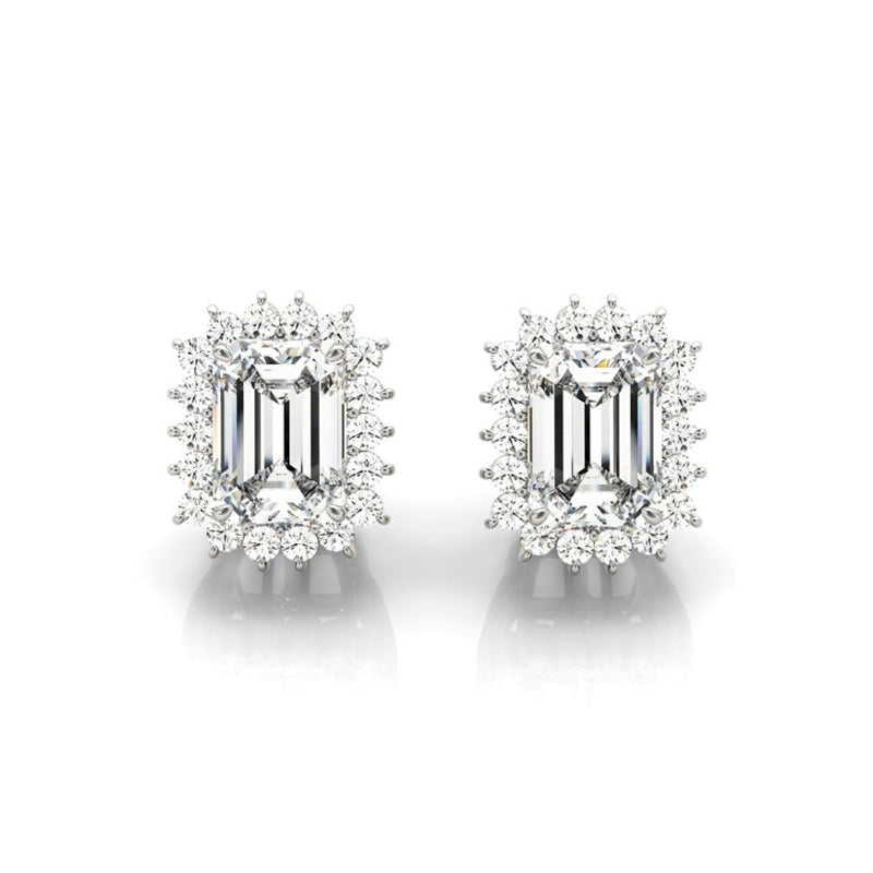 Floral Design Emerald Created White Diamond Stud Earrings