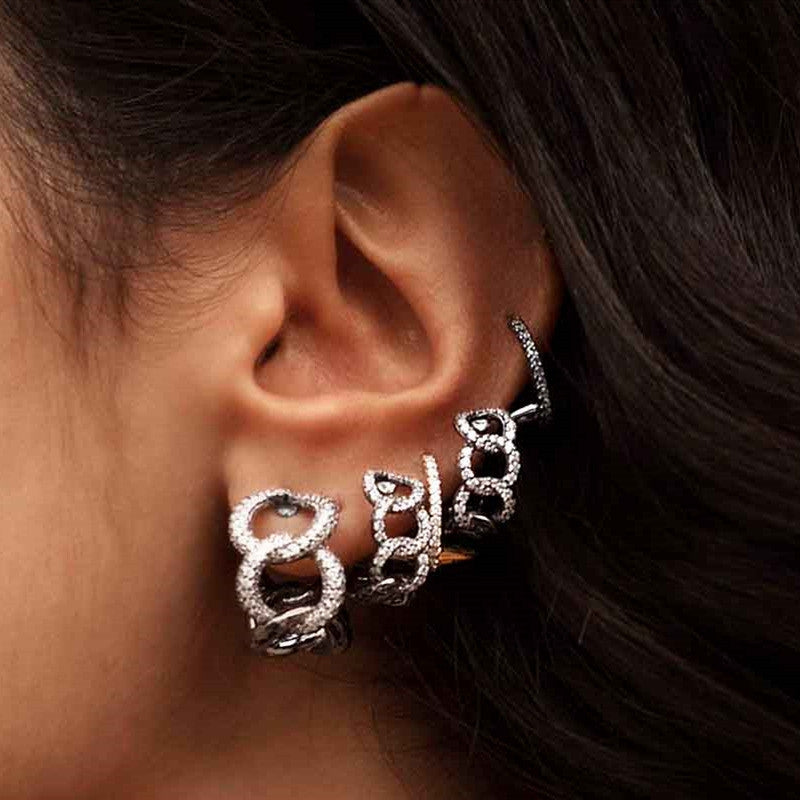 Sterling silver Hip Hop Created Diamond Rivet Ear Clip Earrings