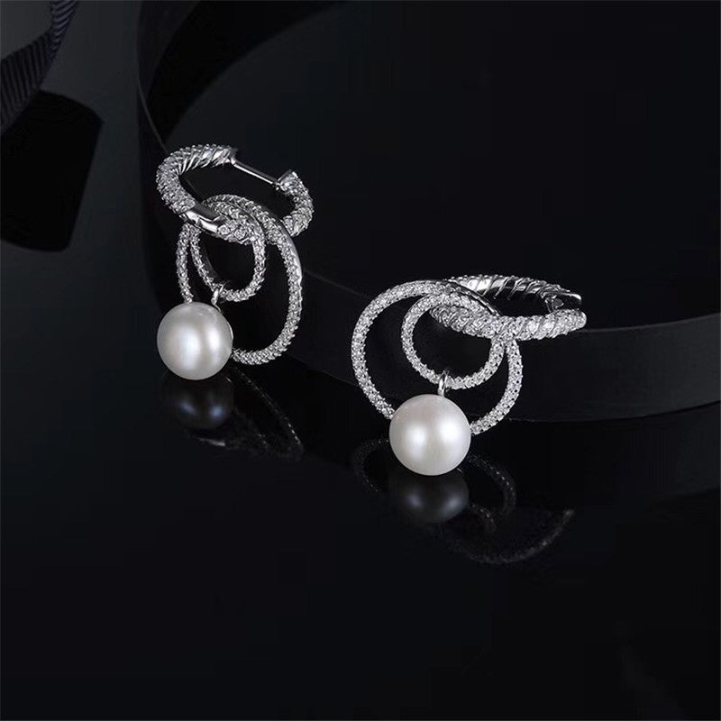 Pearl Sterling Silver Created White Diamond Drop Earrings