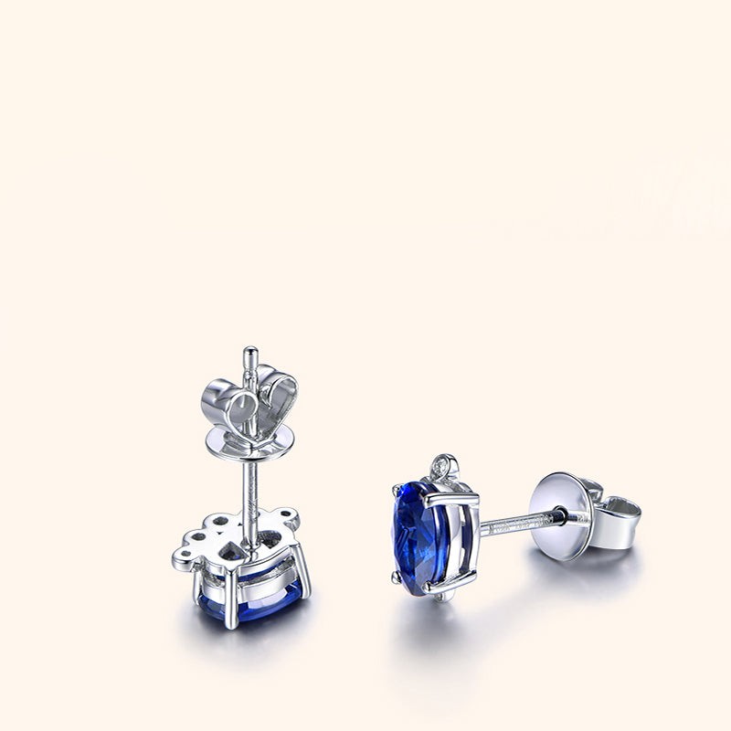 Claw Design Sterling Silver Round Created Blue Diamond Stud Earrings
