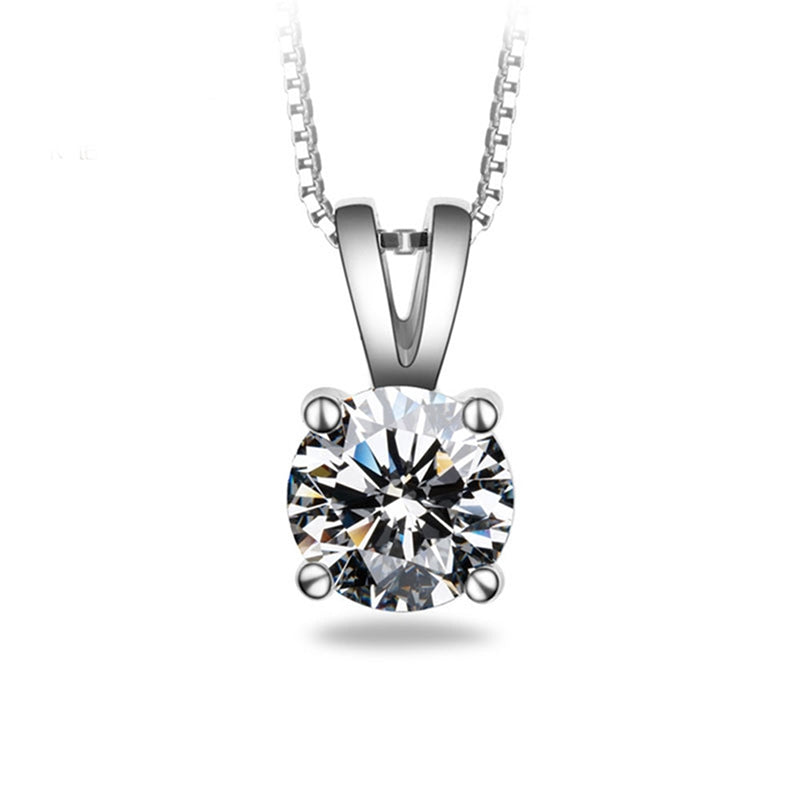 Classic Round Pendant Sterling Silver White Created Diamond Necklace