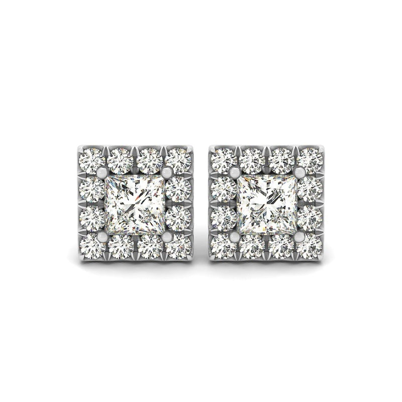Halo Princess Created White Diamond Stud Earrings