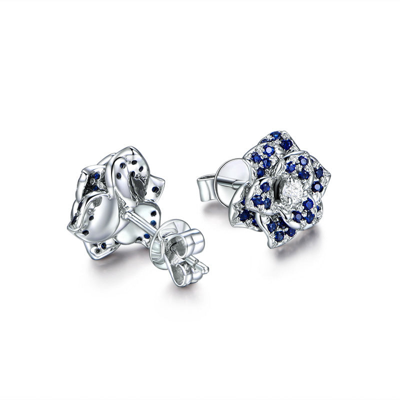 Flower Sterling Silver Created Blue Diamond Stud Earrings