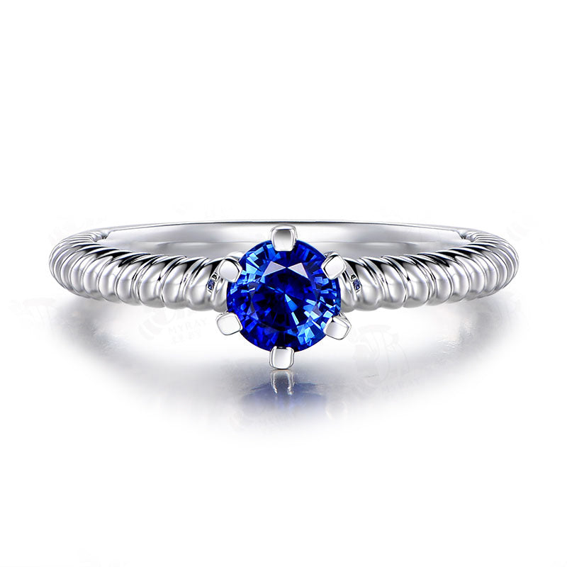 Round Solitaire Sterling Silver Blue Created Diamond Halo Bridal Ring