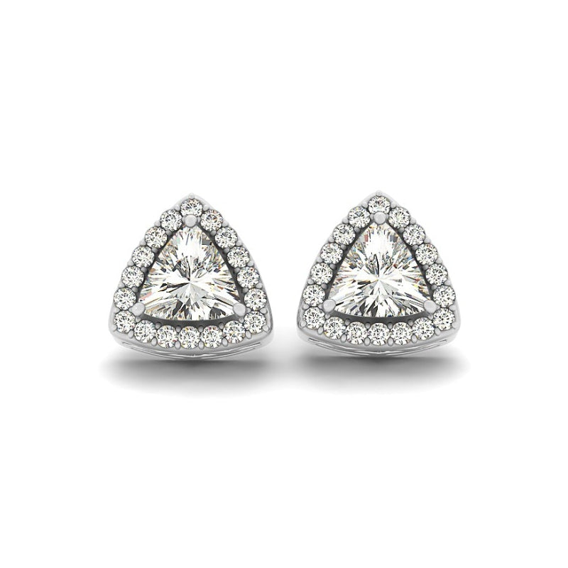 Halo Triangle Created White Diamond Stud Earrings