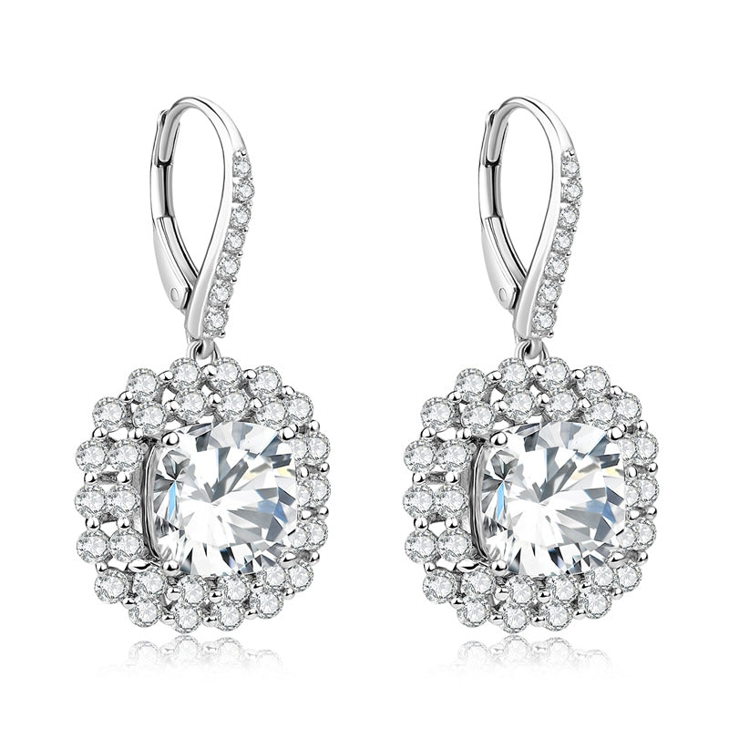Cushion Cut Halo Sterling Silver Created White Diamond Leverback Drop Earring