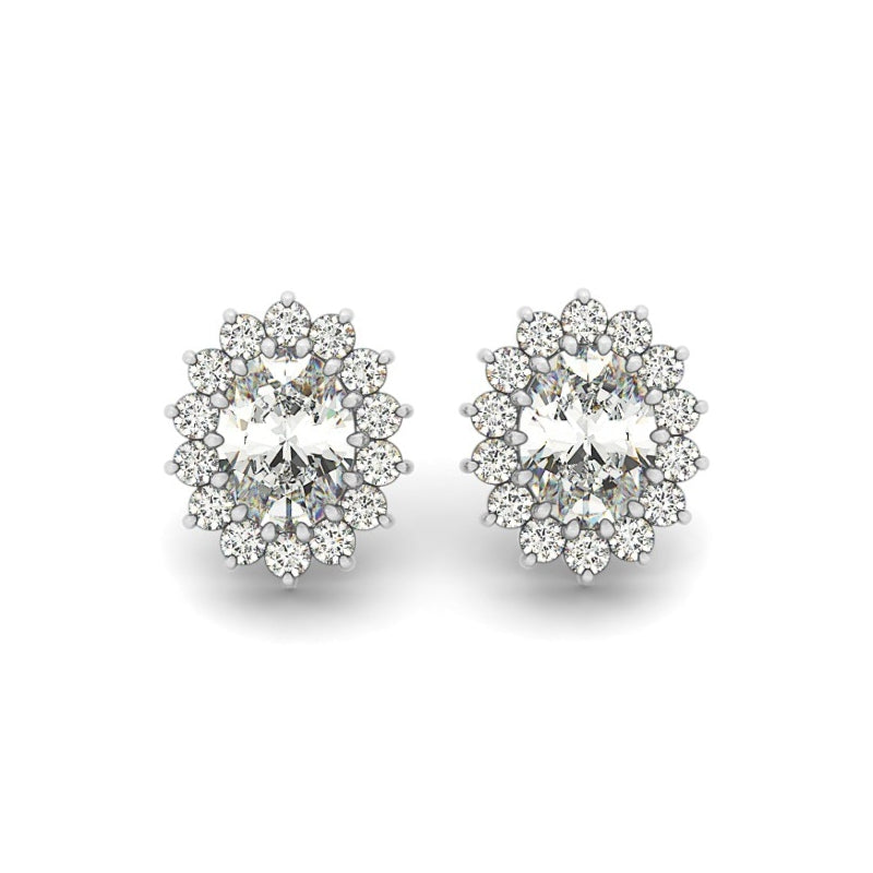 Floral Design Oval Created White Diamond Stud Earrings
