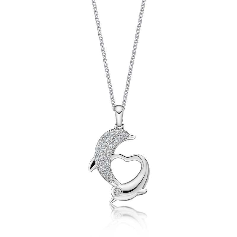 Double Dolphin Design Created White Diamond Animal Pendant