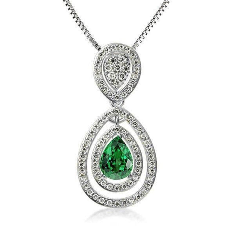 Double Halo Pear Green Created Diamond Pendant Necklace