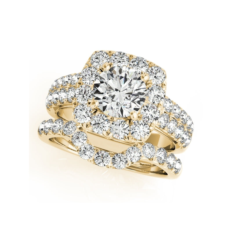 Yellow Gold Double Row Halo Created Diamond Ring Bridal Set