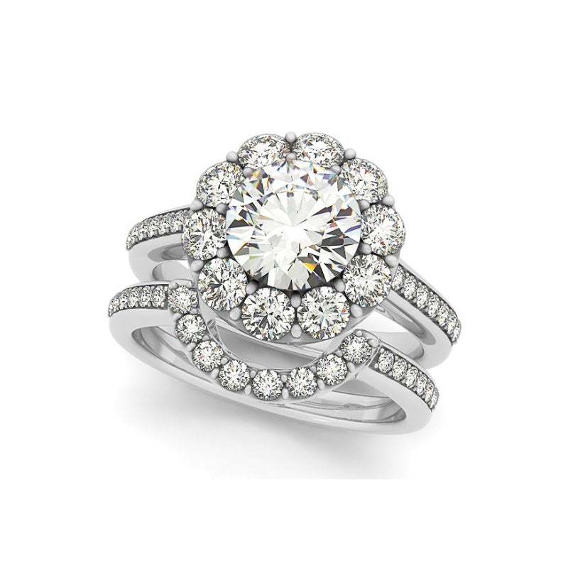 Classic Halo Created White Diamond Ring Bridal Set