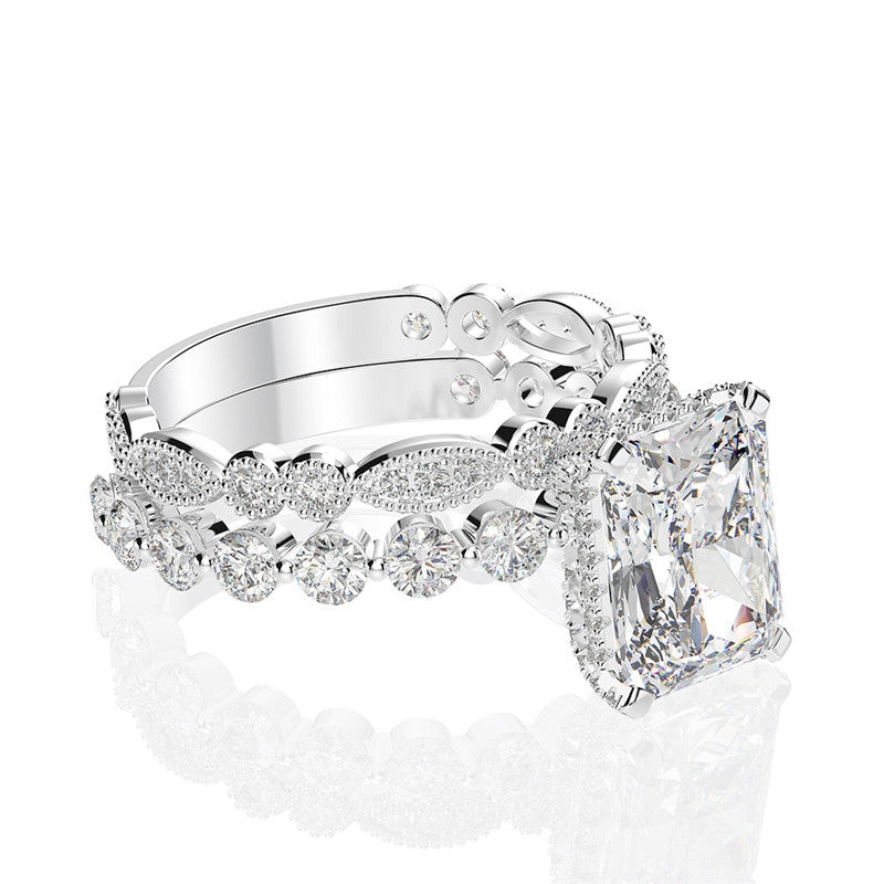 Sterling Silver Radiant Bridal Ring Set