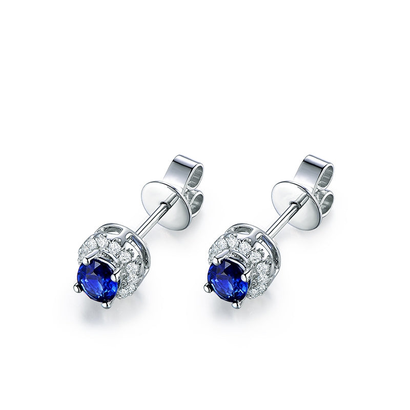 Sterling Silver Blue Round Created Diamond Stud Earrings