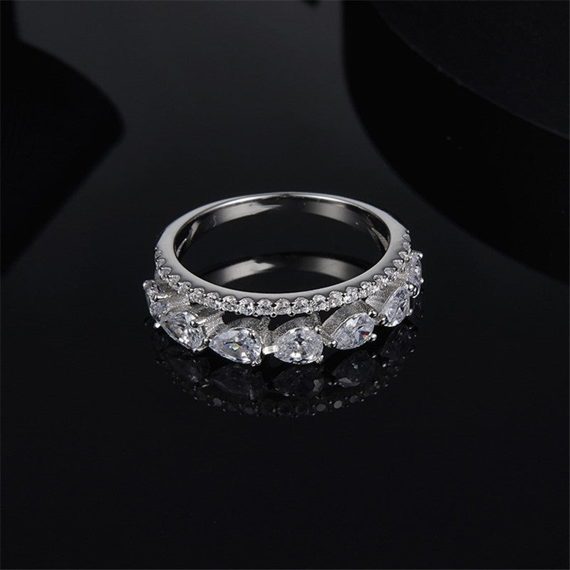 S925 Sterling Silver Created Diamond Fashion Personalized Dinner Ring