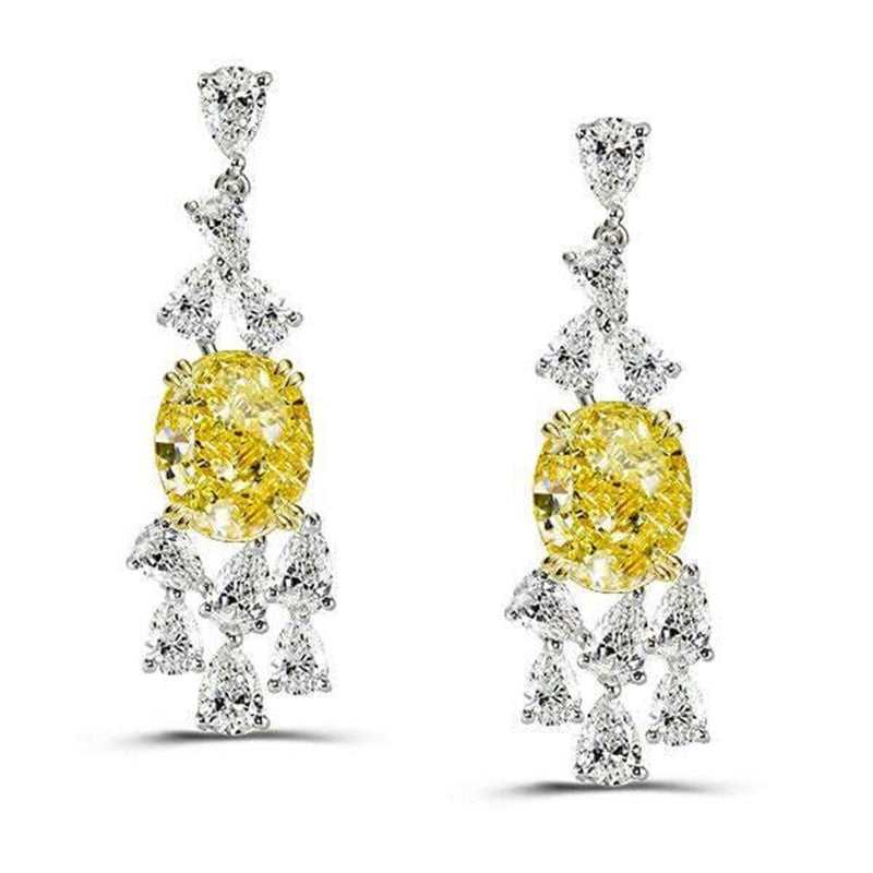Yellow Oval Created Diamond Drop Earrings