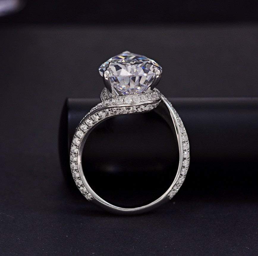 Luxury Big 21.0 CT Pear Shaped Created Diamond Twisted Infinity Ring