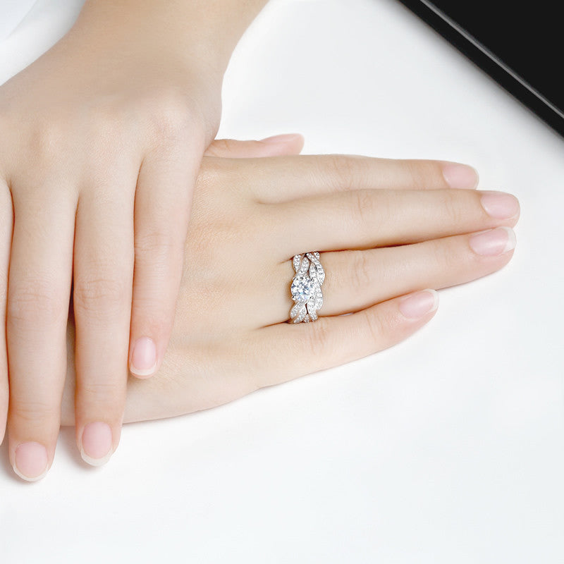Round Created White Diamond Bridal Sets Ring