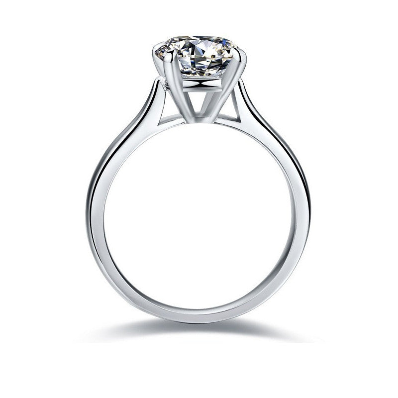 Round Cut White Created Diamond Solitaire Ring