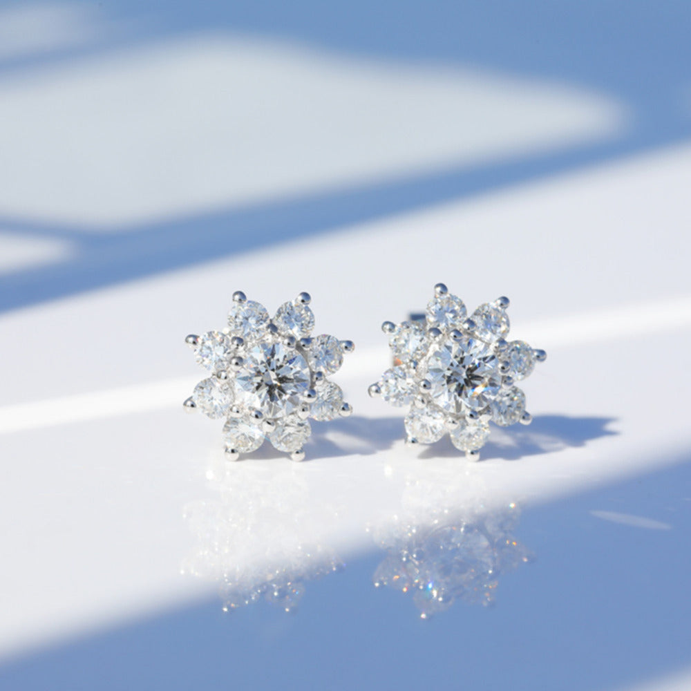 Round Created White Diamond Halo Sun Flower Stud Earrings