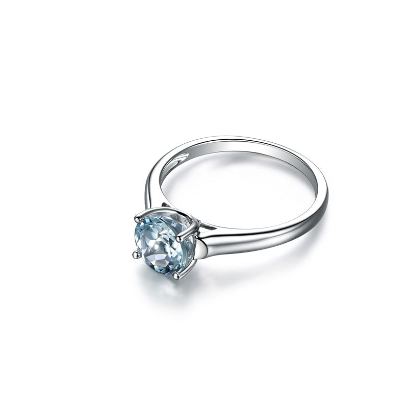 Light Blue Natural Topaz 0.8 Carat Round Cut Ring