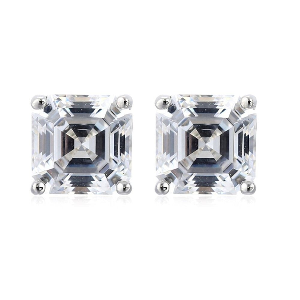 Asscher Cut Creatred Diamond Stud Earrings