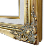 "Daisy Antique Gold Leaf Wood Baroque Picture Frame with Natural Linen Liner 3"" Wide"