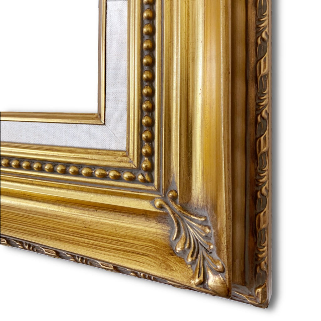 "Orleans Ornate Antique Gold Leaf Wood Baroque Picture Frame with Linen Liner 4.25"" Wide"