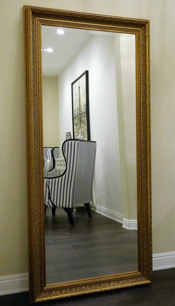 Elegance Ornate Wood Framed Leaner Floor Mirror Gold
