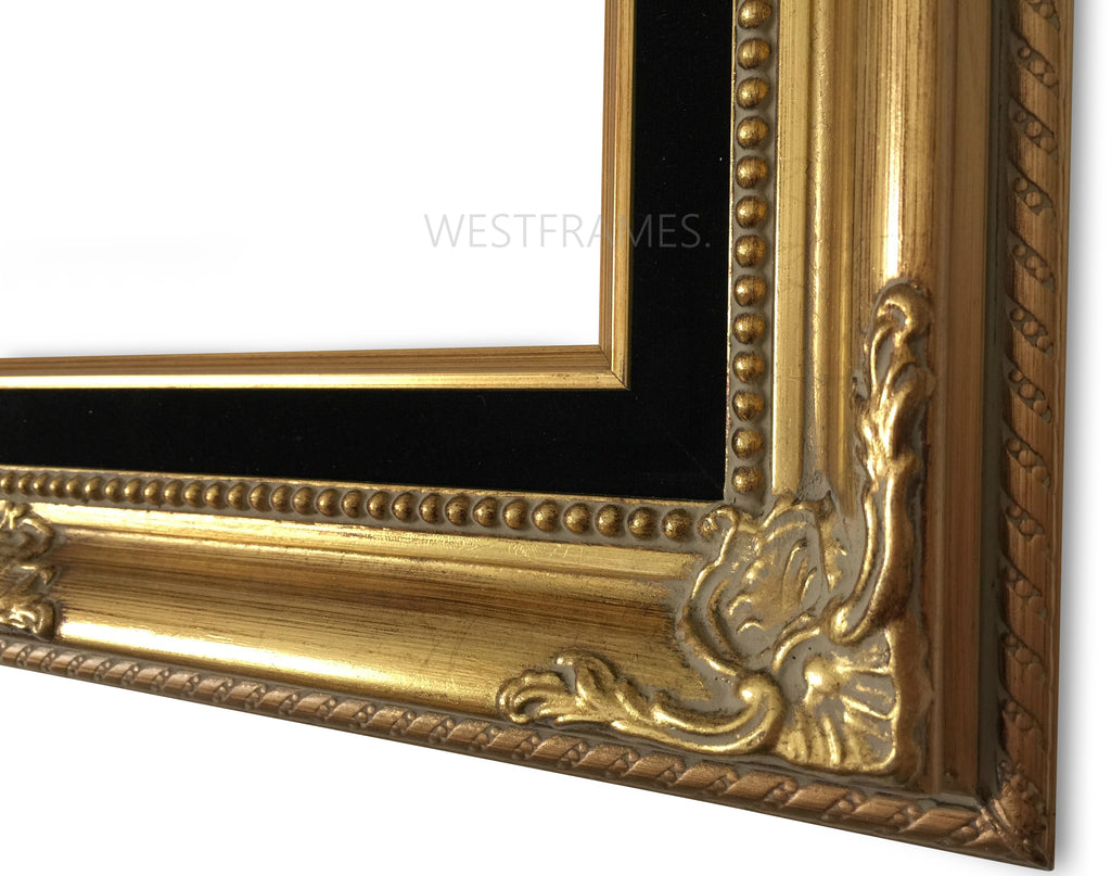 Estelle Antique Gold Leaf Wood Baroque Picture Frame with Black Velveteen Liner - West Frames