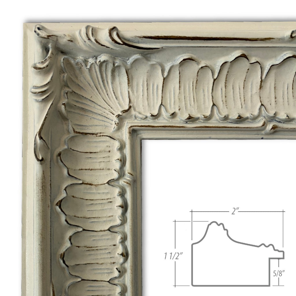 Giselle Ornate Embossed Pattern Wood Picture Frame Antique Off White - West Frames