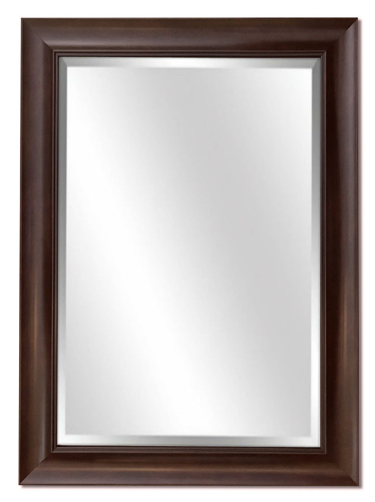 Hugo Rectangle Decorative Scoop Framed Wall Mirror Dark Walnut - West Frames