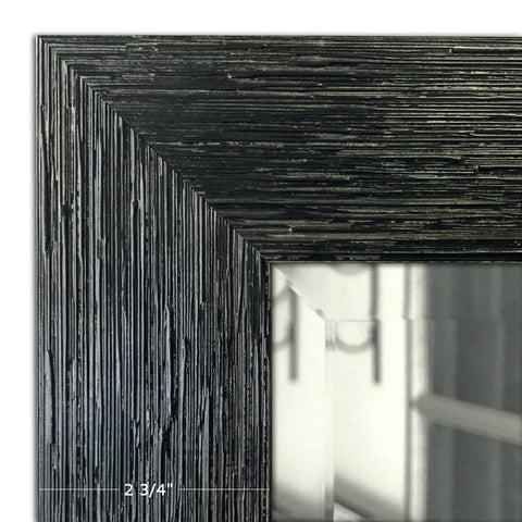Brooklyn Distressed Glossy Black Rustic Panel Decorative Wall Mirror - West Frames