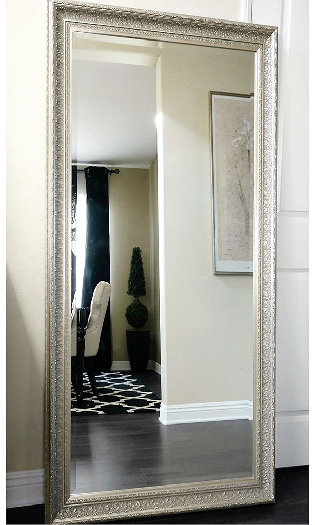 Elegance Ornate Embossed Wood Framed Floor Mirror Champagne Silver Gold