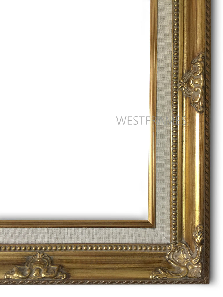 Estelle Antique Gold Leaf Wood Baroque Picture Frame with Natural Linen Liner - West Frames