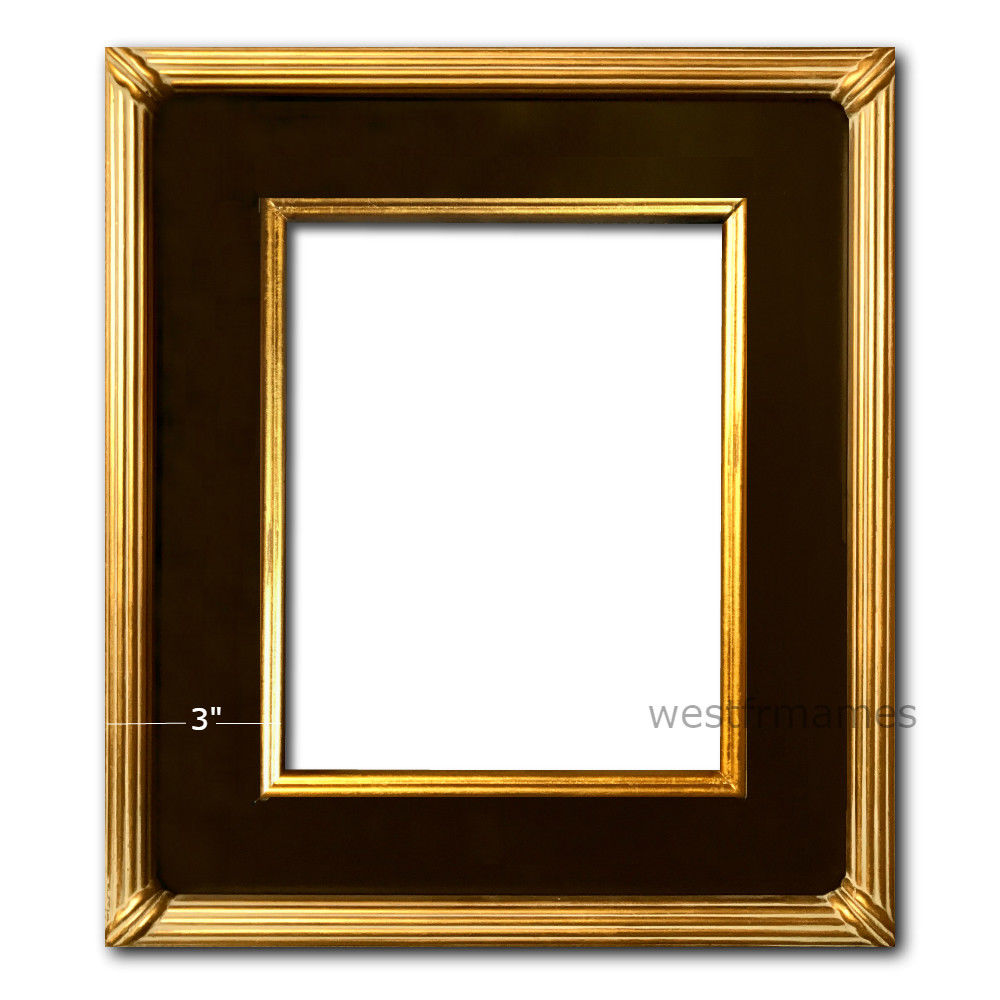 West Frames The Gallery Wood Picture Frame Black Antique Gold Leaf