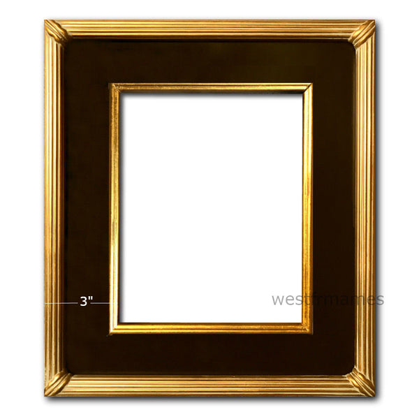 West Frames The Gallery Wood Picture Frame Black Antique Gold Leaf - West Frames