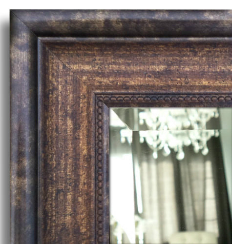 Geneve Distressed Dark Brown Gold Framed Wall Mirror West
