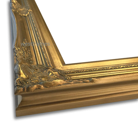 Georgiana Ornate Antique Gold Leaf Wood Picture Frame