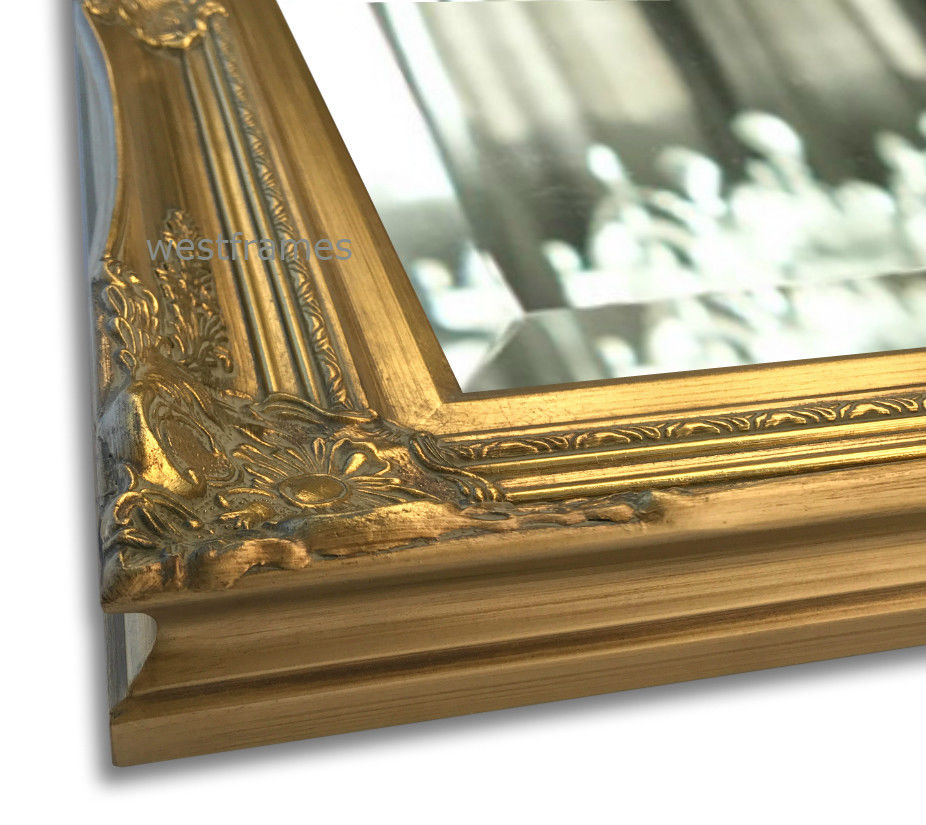 Georgiana Ornate Wood Gold Rectangle Baroque Framed Wall Mirror - West Frames