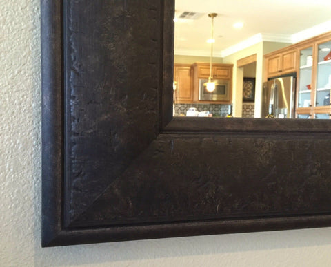 west frames Marcello Rustic Dark Charcoal Brown Bathroom Vanity Framed Wall Mirror