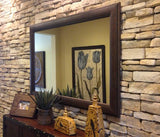Marcello Rustic Walnut Brown Bathroom Vanity Framed Wall Mirror