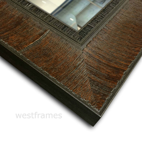 Lodge Distressed Framed Wall Mirror Dark Walnut Brown
