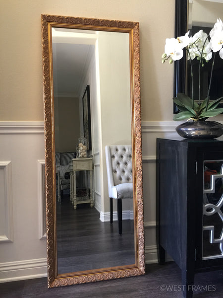Bella Ornate Gold Leaner Floor Mirror