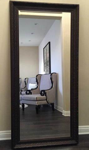 Elegance Embossed Wood Framed Leaner Floor Mirror Bronze