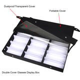 Black 18 Grids Eyewear Sunglasses Eyeglasses Collection Transparent Lid Organizer Storage Holder Box Case Standable for Counter Top Display