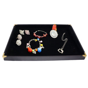 Black Jewelry Display Utility Case with Golden Decorative Corner, 35x24cm, for Retail Shop